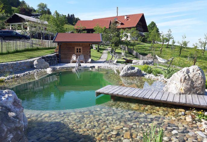 Schwimmteich mit Haus