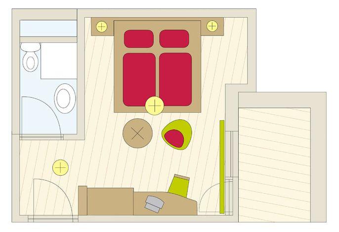Zimmer Nr. 3 (mit Balkon)
