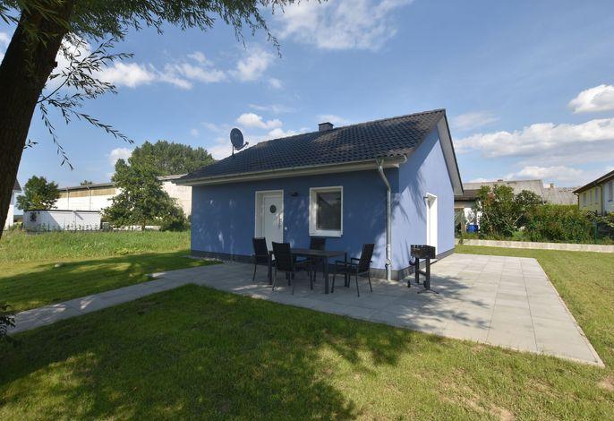 Das blaue Strandhaus mit Kamin