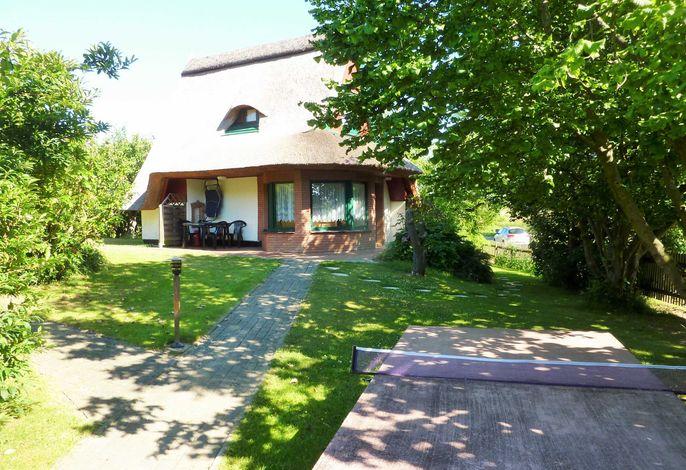 Blick auf das Ferienhaus und den Garten