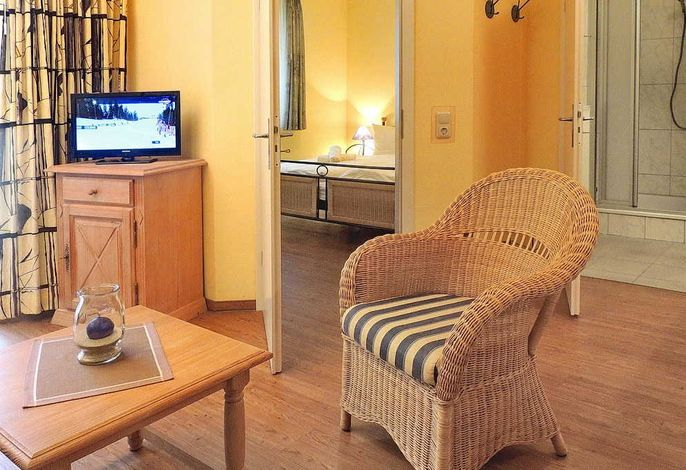 Wohnessbereich mit Sessel, Tisch und Fernseher