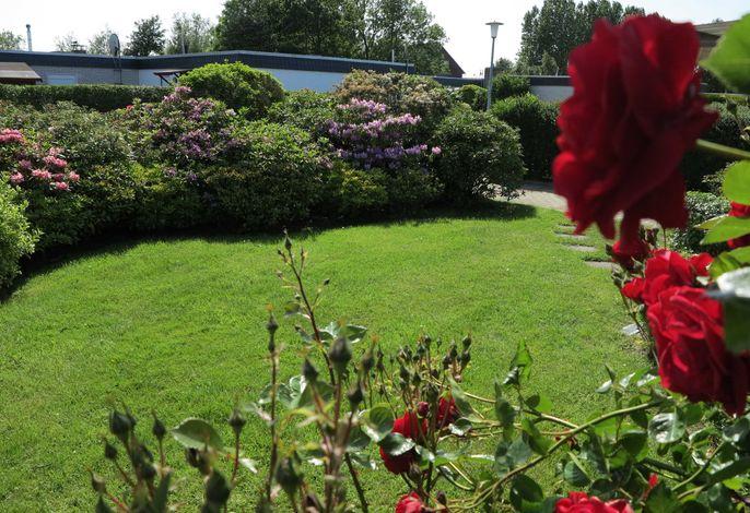 Der schöne Garten des Nordseeferienhauses.