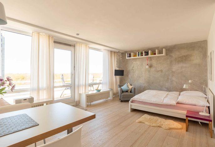 Ferienwohnung Klabautermann Wohnraum mit Doppelbett