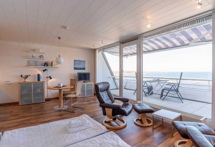 Ferienwohnung Hafen&Strand Bett mit Ausblick