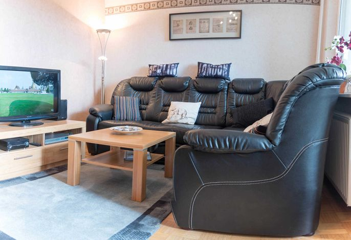 Ferienwohnung Fördepanorma Wohnzimmer mit großer Ledercouch