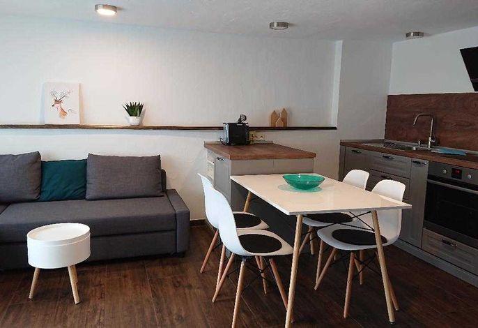 Wohn-Essbereich mit Esstisch für vier Personen