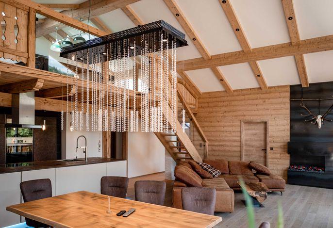 Penthouse Dachstein mit Sauna - Wohnbereich