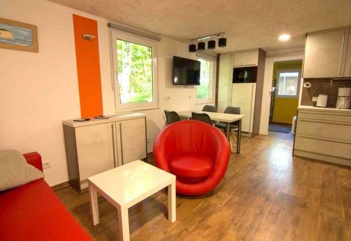 Modern eingerichteter Wohnbereich mit offener Küche