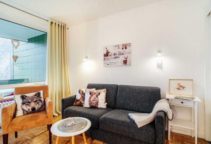 Ferienwohnung Sternenwarte Sankt Andreasberg- Wohnbereich mit Schlafcouch