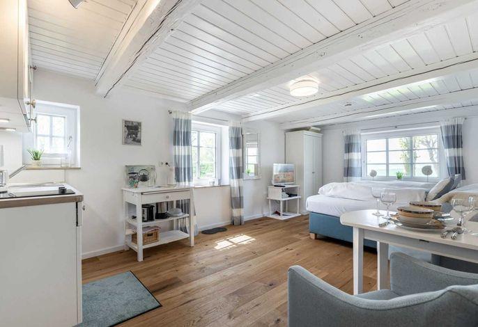 Wohnzimmer mit Doppelbett und Küche