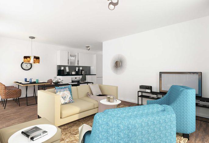 Wohnbereich mit integrierter Küche und Essplatz