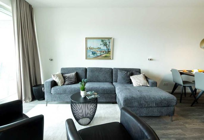 Hafenspitze App. 35 - Blick auf den gemütlichen Wohnbereich