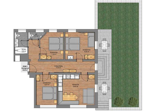 Apartment Zemmgrund im Gästehaus Rosenhof - Grundriss