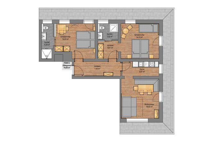 Apartment Stilluptal im Gästehaus Rosenhof - Grundriss