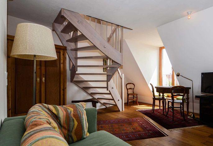 Wohnzimmer der Maisonette Familienzimmer Herrenberg