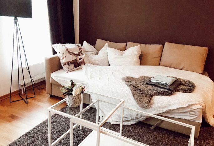 Das Sofa im Wohnzimmer kann ausgezogen werden. Dann können noch 2 weitere Gäste in der Wohnung übernachten