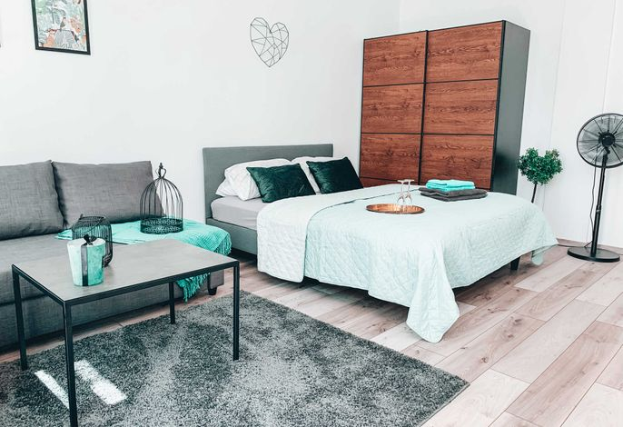 Wohnzimmer mit Schlafcouch und gemütlichen Bett