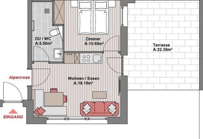 Appartement Alpenrose, in warmen Farben im alpenländischen Flair. rollstuhlgeeignet,