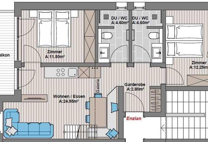 Appartement Enzian, schöner Holzboden, farblich abgestimmte Stoffe, modern rustikale Einrichtung. Der offene Dachstuhl verleiht dem Wohn- und Schlafraum das Gefühl dem Himmel ein Stück näher zu sein. 2 trendigen Badezimmern mit Regendusche. Vom Balkon aus genießen Sie die einzigartige Aussicht auf den Hintertuxer Gletscher und den Sonnenuntergang.