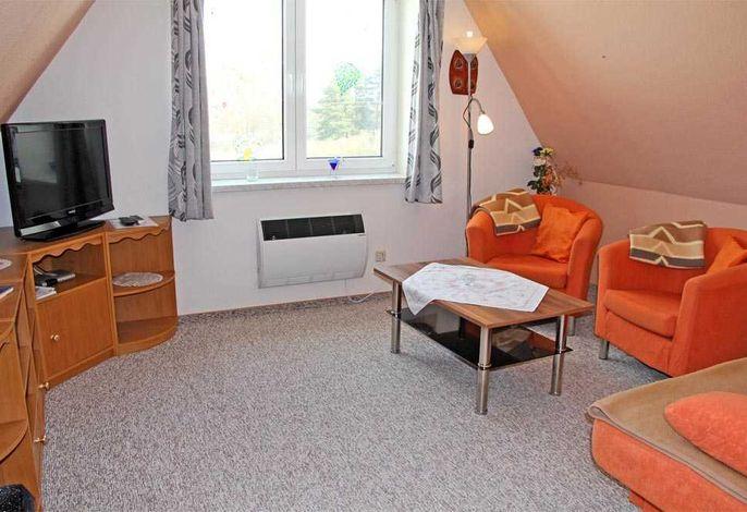 Wohnzimmer mit Schlafsofa und Flachbild-TV