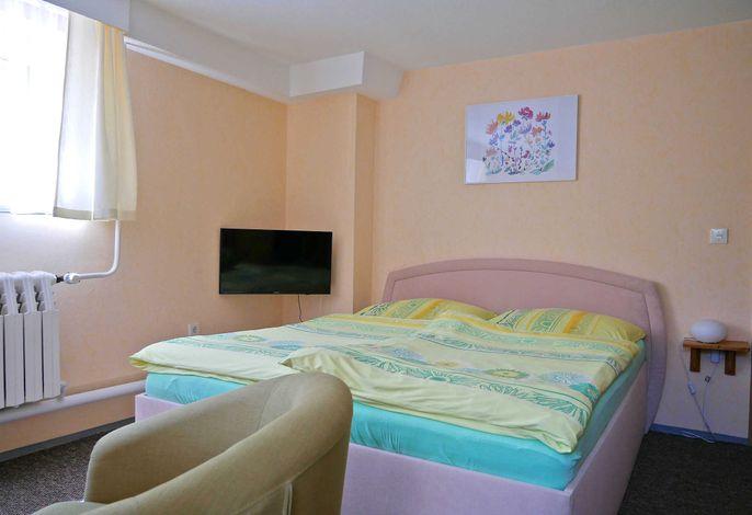 Kombinierter Wohn-Schlafraum mit Doppelbett