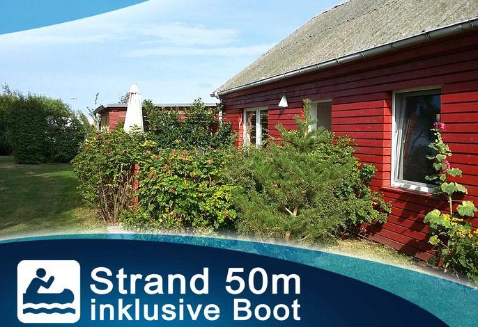 Rotes Strandhaus mit Boot am Salzhaff, 50m zum Strand