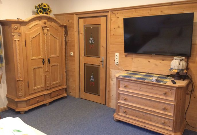 Wohn/Schlafzimmer: Wäschekommode, großer Flachbildschirm mit DVD, Zugang zur Küche.