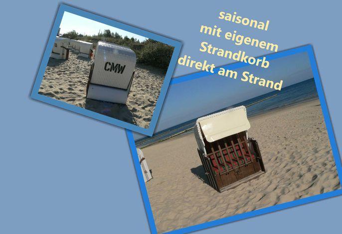 saisonal mit Strandkorb direkt am Strand
