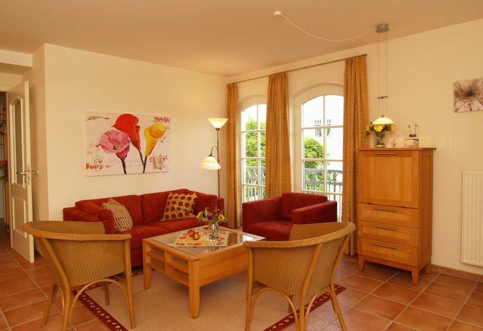 Das gemütliche Wohnzimmer mit Sitzecke