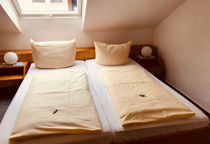 Gemütliches Doppelzimmer mit leichter Dachschräge, Du/ WC, Farb-TV, kostenloses W-LAN und  reichhaltigem Frühstücksbuffet.