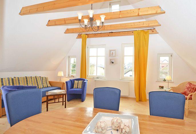 Der Wohnbereich der Wohnung 02 in der Alten Büdnerei im Obergeschoss