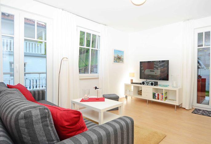 Der Wohnbereich der Wohnung 15 in der Villa Rosa