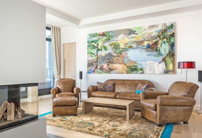 WG 28 Penthouse Hemingway in der Villa Philine - Wohnbereich
