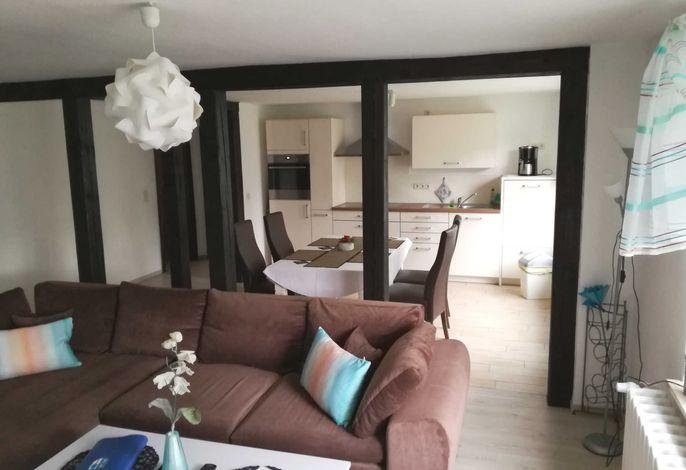 Wohnzimmer mit  schönem Fachwerk- Holzbalken