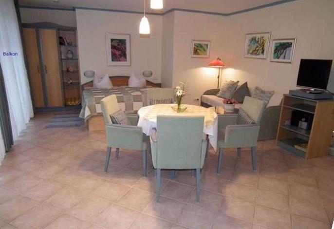 komb  Wohn- Schlafraum mit kl. Pantry - Küche; links geht´s zum Südbalkon