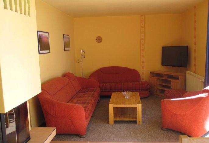Der Wohnbereich mit Kamin und Flach-TV