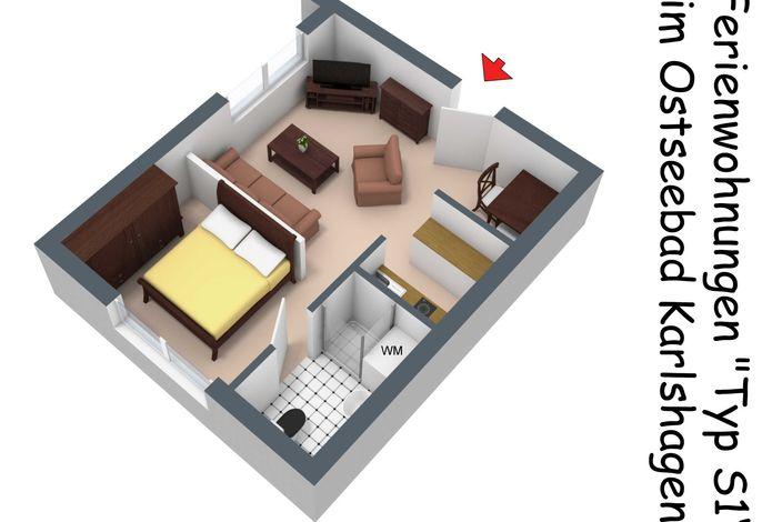 Grundriss in 3D der FeWo S1 in der Starndstraße 24