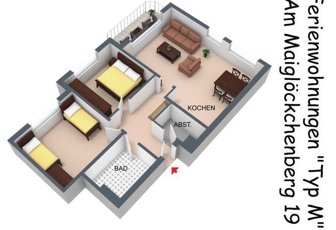 Grundriss in 2d der Wohnung vom Typ M im Haus Am Maiglöckchenberg 19