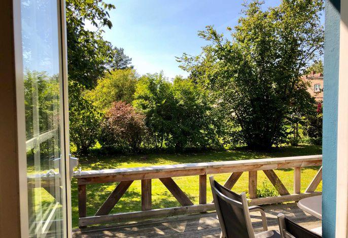 Ausblick auf die Terrasse von Elke´s Ferienhaus