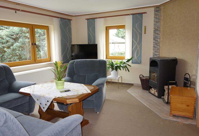 Gemütliches Wohnzimmer mit Kamin und Blick auf den Stieger See