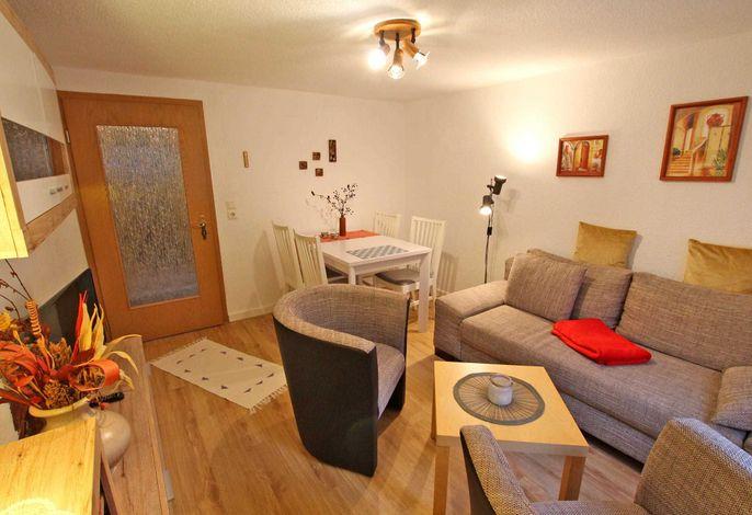 Wohnzimmer mit Schlafcouch und Essecke