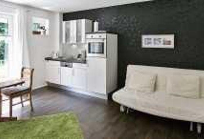 Wohn-Schlafbereich mit Küchenzeile
