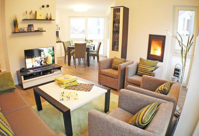 Der Wohnbereich der Wohnung 09 in der Strandvilla Baabe