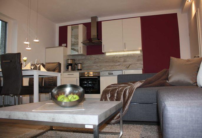 Wohn- / Esszimmer mit modernen Möbeln, Ausziehsofa 180 cm x 200 cm, neuer voll ausgestatteter Küche, Schreibtisch, Esstisch mit 4 Stühlen und sensationellem Schlossblick.