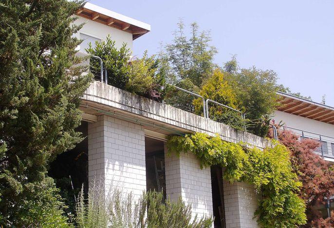 3 gemauerte Säulen tragen die Terrasse; direkt gegenüber Ihr Parkplatz