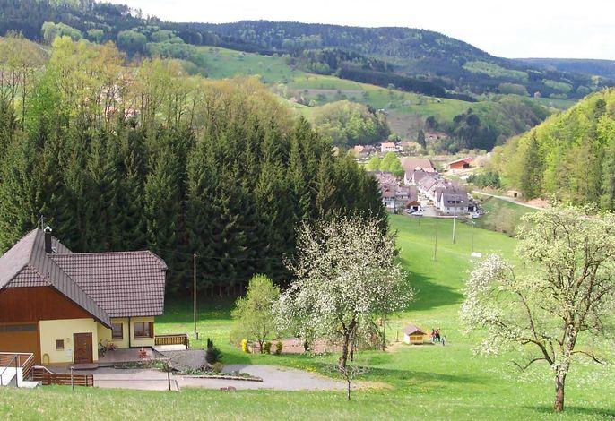 Blick ins Dorf - links im Vordergrund steht unser Haus mit der Ferienwohnung