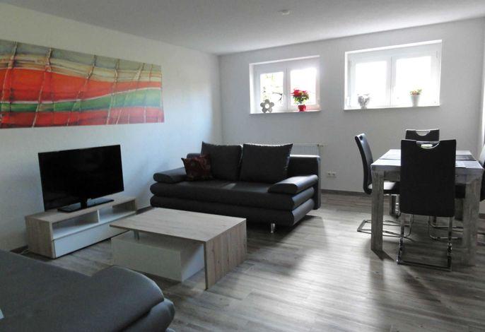 Wohnzimmer mit 2 Lederschlafsofas