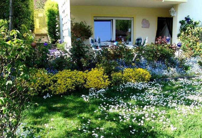 Eingang in den abgezäunten Garten mit Terrasse