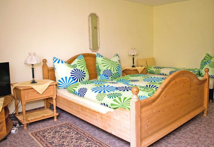 Kombinierter Wohn-Schlafraum mit Doppelbett und Liege