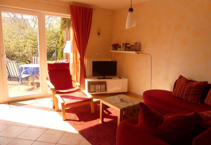 Blick von der Couch auf die Terrasse und in den Garten